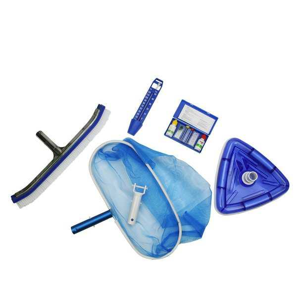 5-Piece Deluxe Swimming Pool Kit - Vacuum, Leaf Rake, Wall Brush, Thermometer and Test Kit - Blue