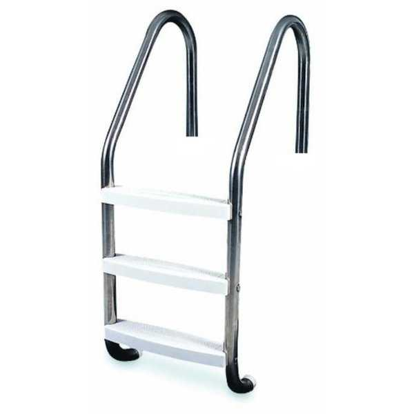 52' Three Step Stainless Steel In-Ground Swimming Pool Deck Ladder - Silver